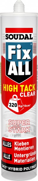Soudal Fix ALL® High Tack Clear 305 g - Der transparente Hochleistungs-Montagekleber